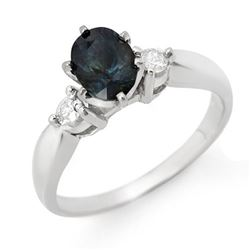 1.45 CTW Blue Sapphire & Diamond Ring 18K White Gold - REF-50F5M - 11778