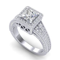 3.5 CTW Princess VS/SI Diamond Solitaire Micro Pave Ring 18K White Gold - REF-581W8H - 37166