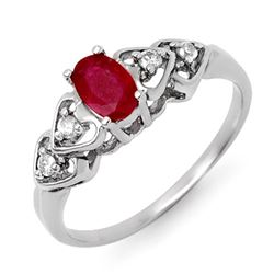 0.57 CTW Ruby & Diamond Ring 18K White Gold - REF-29R5K - 12596