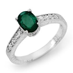 1.63 CTW Emerald & Diamond Ring 18K White Gold - REF-51M6F - 13614