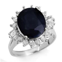 8.99 CTW Blue Sapphire & Diamond Ring 18K White Gold - REF-124X2T - 12918