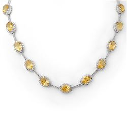 37.0 CTW Citrine & Diamond Necklace 10K White Gold - REF-181H6W - 10064