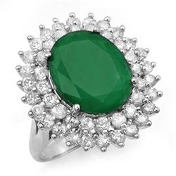 10.83 CTW Emerald & Diamond Ring 18K White Gold - REF-307M3F - 12962