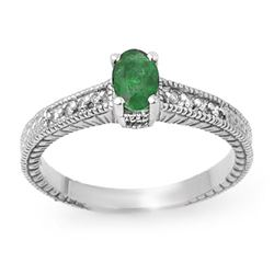 0.76 CTW Emerald & Diamond Ring 14K White Gold - REF-29T6X - 13628