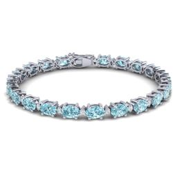 25.8 CTW Sky Blue Topaz & VS/SI Certified Diamond Eternity Bracelet 10K White Gold - REF-118W4H - 29