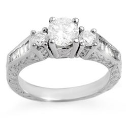 1.01 CTW Certified VS/SI Diamond Ring 14K White Gold - REF-128R8K - 11347