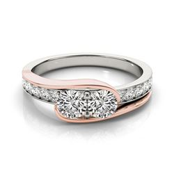 1.45 CTW Certified VS/SI Diamond 2 Stone Ring 18K White & Rose Gold - REF-219W6H - 28191