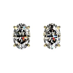 1 CTW Certified VS/SI Quality Oval Diamond Solitaire Stud Earrings 10K Yellow Gold - REF-143M6F - 33