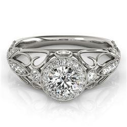 0.93 CTW Certified VS/SI Diamond Solitaire Antique Ring 18K White Gold - REF-154F2M - 27327