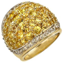 5.75 CTW Yellow Sapphire & Diamond Ring 14K Yellow Gold - REF-142X2T - 10806