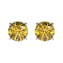 1 CTW Certified Intense Yellow SI Diamond Solitaire Stud Earrings 10K White Gold - REF-141F8M - 3305