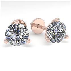 1.0 CTW Certified VS/SI Diamond Stud Earrings Martini 14K Rose Gold - REF-142K5R - 38307