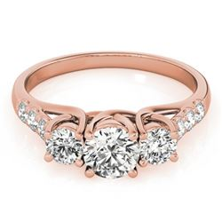 1.25 CTW Certified VS/SI Diamond 3 Stone Ring 18K Rose Gold - REF-166H2W - 28081