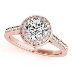 0.75 CTW Certified VS/SI Diamond Solitaire Halo Ring 18K Rose Gold - REF-132F8M - 26357