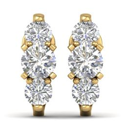 2 CTW Certified VS/SI Diamond 3 Stone Stud Earrings 14K Yellow Gold - REF-230K4R - 30479