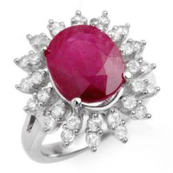 7.21 CTW Ruby & Diamond Ring 18K White Gold - REF-155F8M - 13211
