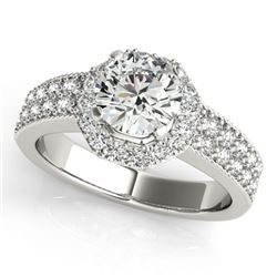 0.90 CTW Certified VS/SI Diamond Solitaire Halo Ring 18K White Gold - REF-143K6R - 27069