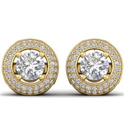 1.75 CTW Certified VS/SI Diamond Art Deco Micro Halo Stud Earrings 14K Yellow Gold - REF-207X6T - 30