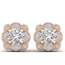 1.5 CTW Certified VS/SI Diamond Art Deco Stud Earrings 14K Rose Gold - REF-196K2R - 30514