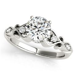 0.90 CTW Certified VS/SI Diamond Solitaire Antique Ring 18K White Gold - REF-195M3F - 27420