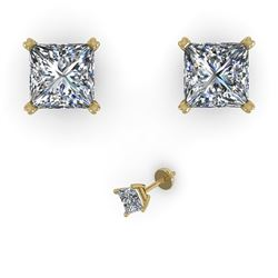 1.00 CTW Princess Cut VS/SI Diamond Stud Designer Earrings 18K Yellow Gold - REF-157T8X - 32278