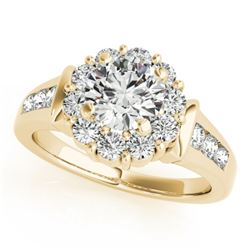 1.35 CTW Certified VS/SI Diamond Solitaire Halo Ring 18K Yellow Gold - REF-173H8W - 26930
