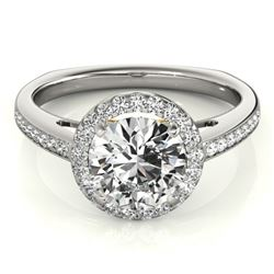 0.80 CTW Certified VS/SI Diamond Solitaire Halo Ring 18K White & Yellow Gold - REF-136H2W - 26956