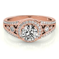 1.15 CTW Certified VS/SI Diamond Solitaire Halo Ring 18K Rose Gold - REF-218W2H - 26743