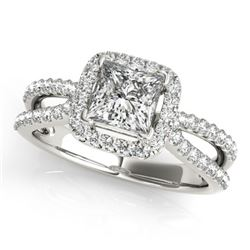 0.85 CTW Certified VS/SI Princess Diamond Solitaire Halo Ring 18K White Gold - REF-141W5H - 27129