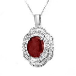 6.0 CTW Ruby & Diamond Pendant 18K White Gold - REF-166M8F - 14269