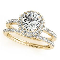 1.25 CTW Certified VS/SI Diamond 2Pc Wedding Set Solitaire Halo 14K Yellow Gold - REF-204W2H - 30926