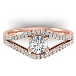 1.05 CTW Certified VS/SI Diamond Art Deco Ring 14K Rose Gold - REF-126X8T - 30301