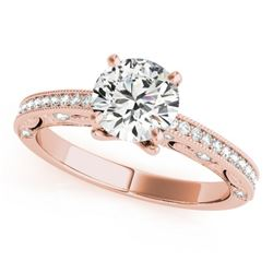 0.75 CTW Certified VS/SI Diamond Solitaire Antique Ring 18K Rose Gold - REF-129H8W - 27373