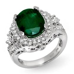 6.15 CTW Emerald & Diamond Ring 14K White Gold - REF-126H2W - 11917