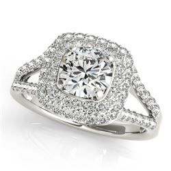 1.35 CTW Certified VS/SI Diamond Solitaire Halo Ring 18K White Gold - REF-172H2W - 26461