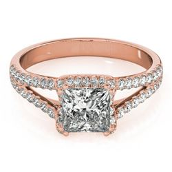 2.05 CTW Certified VS/SI Princess Diamond Solitaire Halo Ring 18K Rose Gold - REF-661K4R - 27109