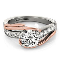 1 CTW Certified VS/SI Diamond Bypass Solitaire Ring 18K White & Rose Gold - REF-224F4M - 27759