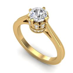 1.14 CTW VS/SI Diamond Art Deco Ring 18K Yellow Gold - REF-220Y5N - 36829