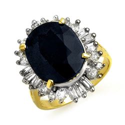 10.99 CTW Blue Sapphire & Diamond Ring 14K Yellow Gold - REF-125H5W - 13128