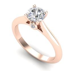 0.83 CTW VS/SI Diamond Solitaire Art Deco Ring 18K Rose Gold - REF-200W2H - 37284