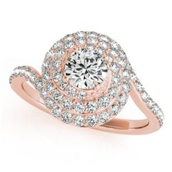 1.54 CTW Certified VS/SI Diamond Solitaire Halo Ring 18K Rose Gold - REF-228R5K - 27049