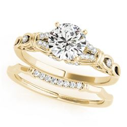 1 CTW Certified VS/SI Diamond Solitaire 2Pc Wedding Set 14K Yellow Gold - REF-187T5X - 31897