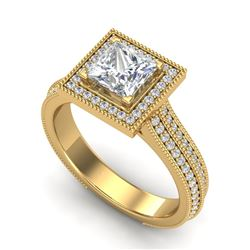 2 CTW Princess VS/SI Diamond Solitaire Micro Pave Ring 18K Yellow Gold - REF-472T8X - 37183