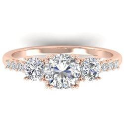 1.5 CTW Certified VS/SI Diamond Art Deco 3 Stone Ring 14K Rose Gold - REF-215K3R - 30460