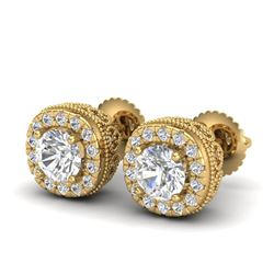 1.69 CTW VS/SI Diamond Solitaire Art Deco Stud Earrings 18K Yellow Gold - REF-263N6Y - 37120