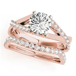 1.06 CTW Certified VS/SI Diamond Solitaire 2Pc Wedding Set 14K Rose Gold - REF-137T3X - 31620
