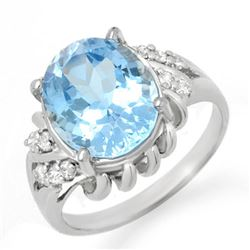 5.22 CTW Blue Topaz & Diamond Ring 18K White Gold - REF-43X8T - 12483