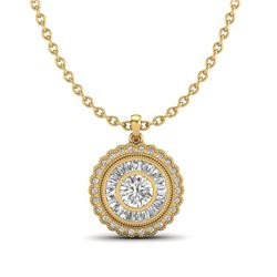 2.11 CTW VS/SI Diamond Solitaire Art Deco Necklace 18K Yellow Gold - REF-309R3K - 37087