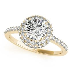 1.6 CTW Certified VS/SI Diamond Solitaire Halo Ring 18K Yellow Gold - REF-389W3H - 26487
