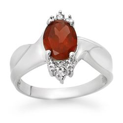 1.61 CTW Garnet & Diamond Ring 18K White Gold - REF-35X3T - 12521